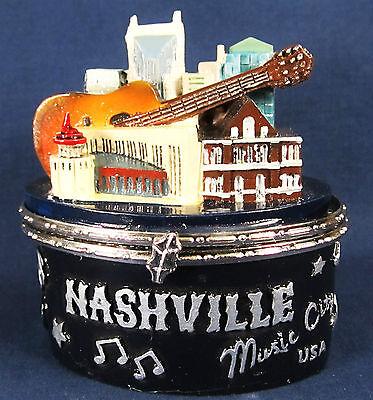 Nashville memorabilia ceramic Trinket Box w/music symbols