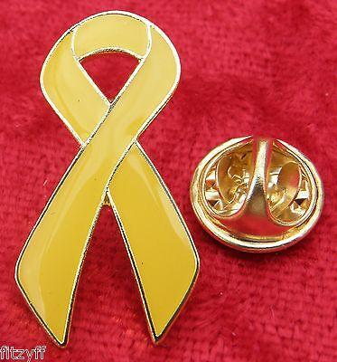 Yellow Ribbon Lapel Pin Badge Awareness Brooch
