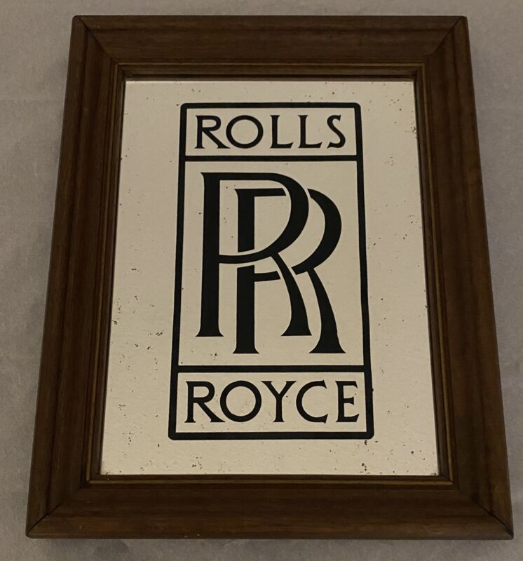 Vintage Rolls Royce RR Glass Reflection Mirror With Wooden Frame
