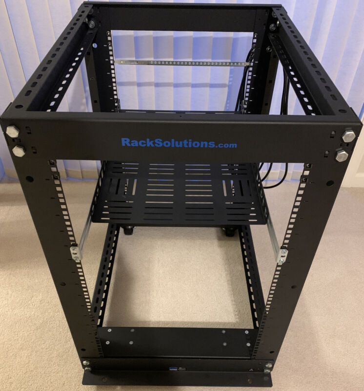 "Rack Solutions 16U Open Frame Rack on Casters 28.875"" or 20"" Depth"