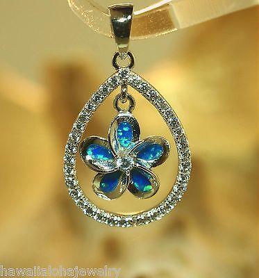 (15mm Hawaiian Rhodium Over 925 Silver Dangling Plumeria Opal Teardrop CZ Pendant)