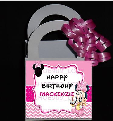 Personalized Favor Bags ( Minnie Mouse 12 Personalized Birthday Party Favor Small Boxes  Ribbon)