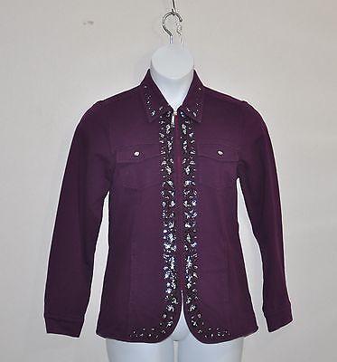 (Quacker Factory DreamJeannes Jacket with Animal Rhinestone Trim Size S Deep Wine)
