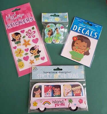 Island Heritage Lot Of 4-sticky Note Tabs 16pc.stickers Decal Slipper Erasers