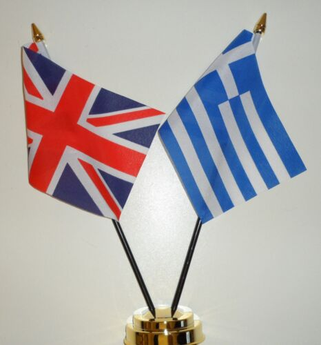 United Kingdom & Greece Double Friendship Table Flag Set