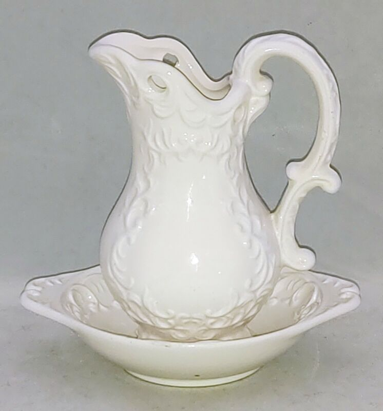 Napco Ware WHITE PROVINCIAL Porcelain Embossed Scrolls Leaves PITCHER & EWER