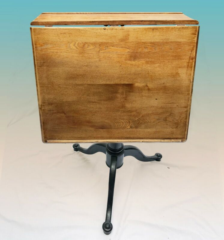 Art/Drafting Table, Easel, Antique, Wood Top, Cast Iron Base. Accent Table