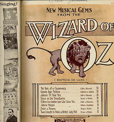 Antique PRIVATELY BOUND Sheet Music Book WIZARD of OZ President BLACK AMERICANA