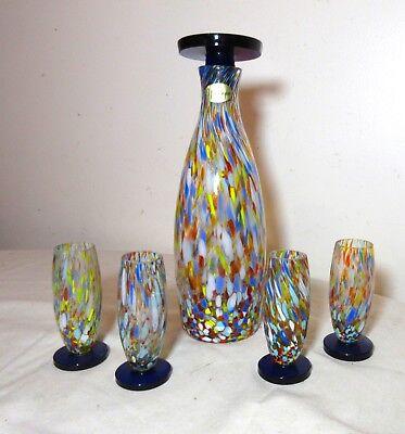 vintage hand blown Nouveau glass rainbow liquor wine decanter shot glass cobalt