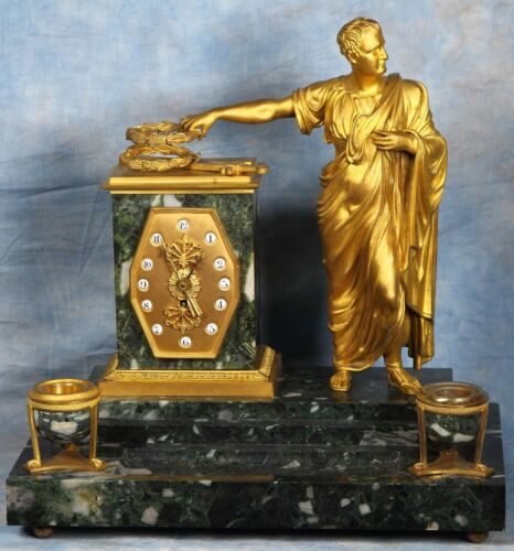 Heavy Antique French Solid Marble and Bronze Caesar Desk Set Clock 19th Century