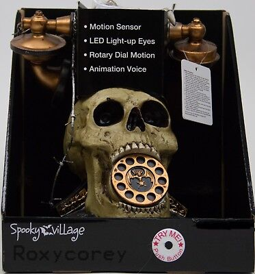 Halloween Spooky Village Animated Antique Phone Sound & Motion Activated NWT