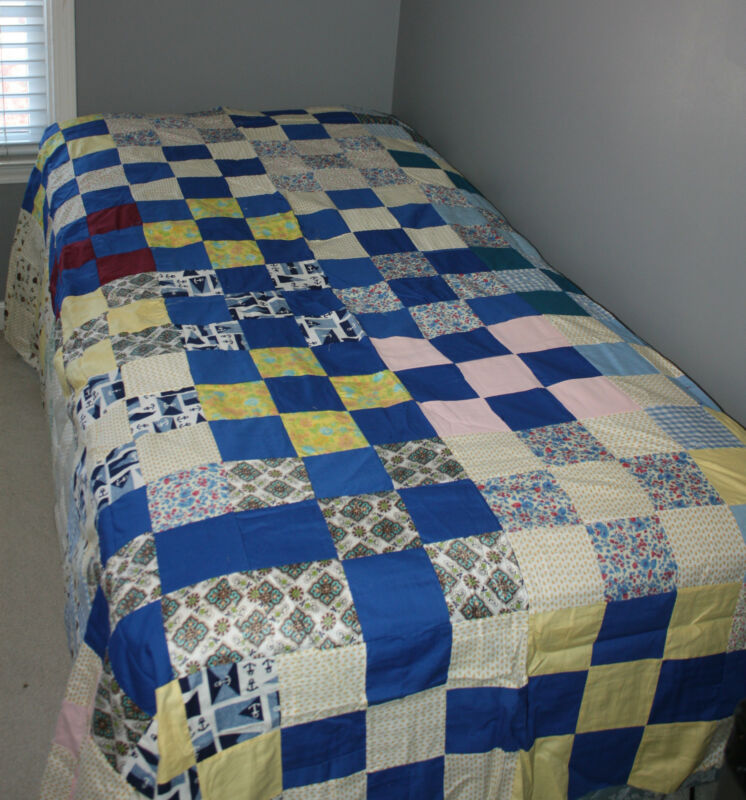 "Hand Pieced Blue Yellow Multi-Colored Patchwork Quilt Top 86"" x 75"""