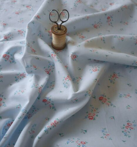 Antique Vintage Small Scale Floral Cotton Fabric ~ Pink on Blue Ground ~ dolls