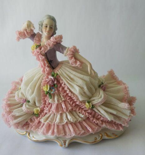 "Vintage Antique MZ Dresden Porcelain Lace Dancer Figurine 7.25"""