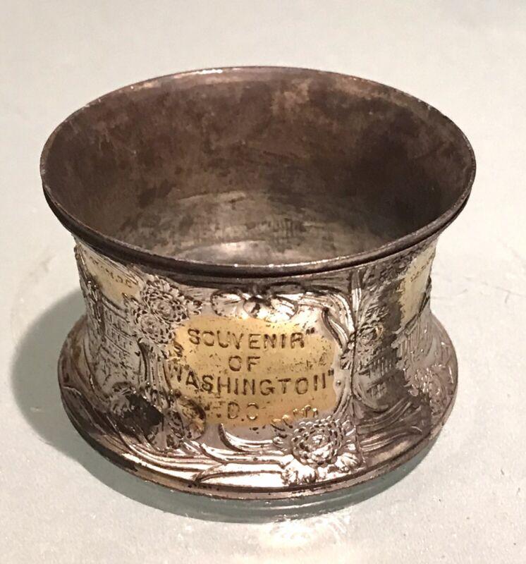 Vintage Antique Souvenir Of Washington Napkin Ring Holder Old Decor Flatware