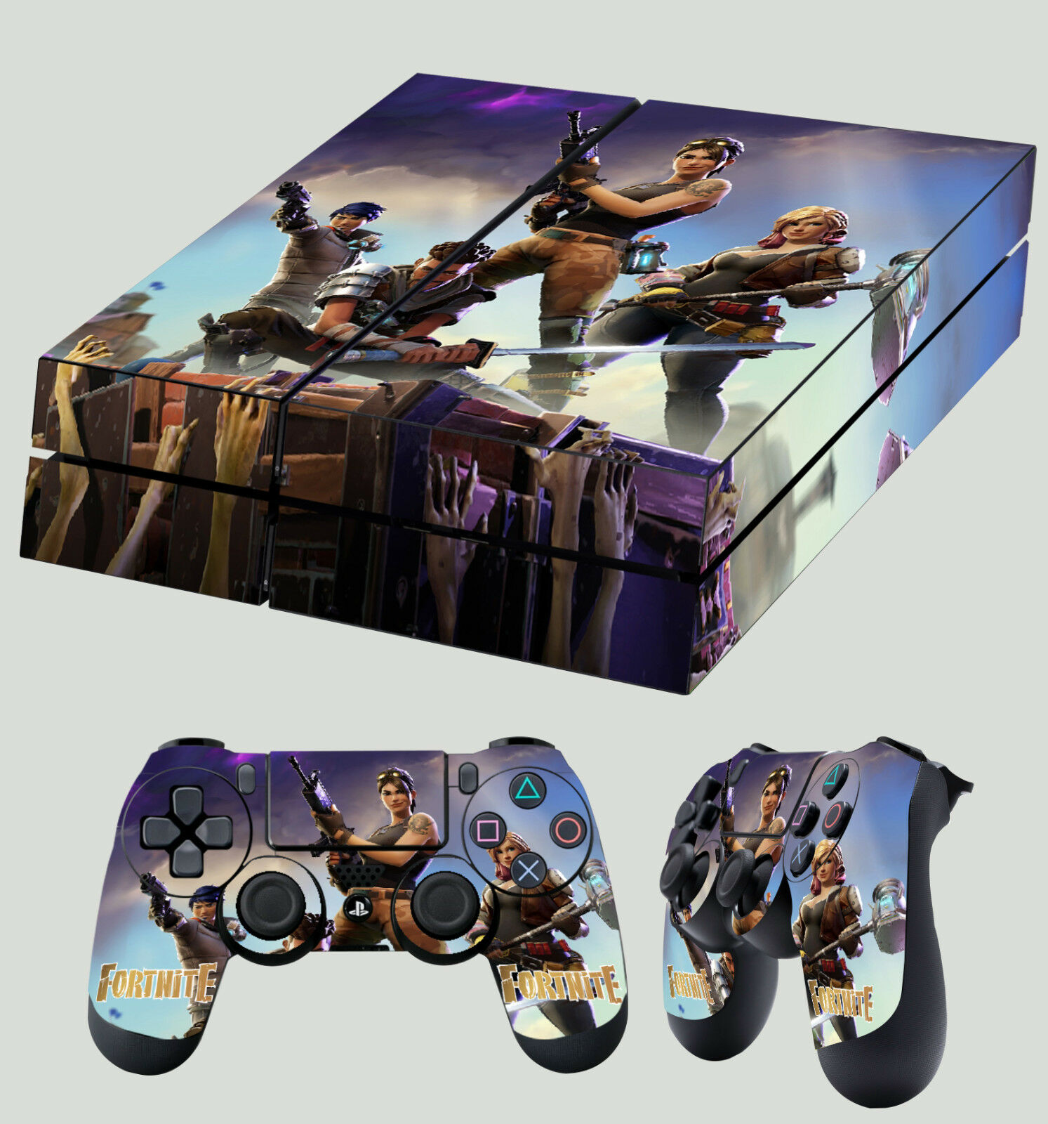 PS4 Skin Fort nite Sandbox Survival Building  Sticker + 2 X Pad decals Vinyl