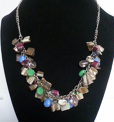 Super Summer Necklace    Silver With Abalone Shell And Glass Beads