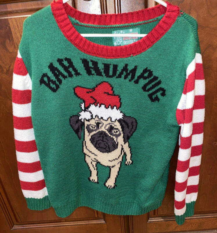Ugly Christmas Sweater Pug Dog Santa Green Striped Long Sleeve Toddler size 5t