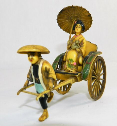 Vintage Celluloid Rickshaw With Runner & Riding Lady Asian Japanese Geisha Art