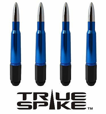 24 TRUE SPIKE 7 INCH 14X2.0 STEEL LUG NUTS W/ BLUE CHROME 50 CAL BULLET SPIKES