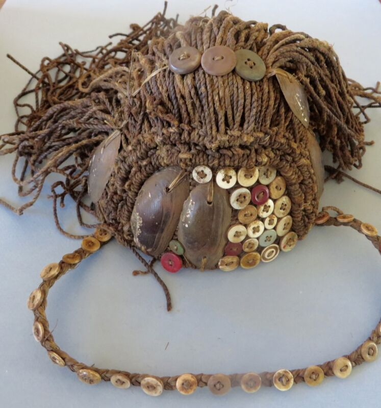 Vintage, Lega Ceremonial Hat, Headress with Mussel Shells, Buttons