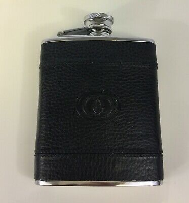 VINTAGE GUCCI BLACK LEATHER/SS DOUBLE Gs FLASK RARE MINT CONDITION COLLECTIBLE