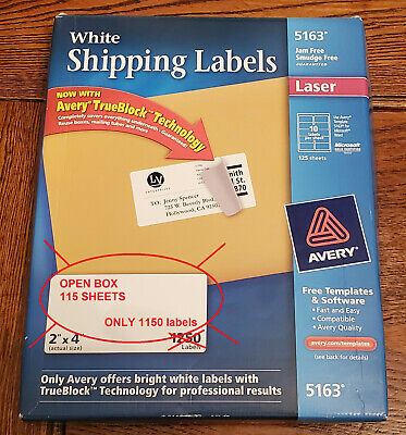 Avery 5163 2x4 White Shipping Labels - Open Box 115 Sheets1150 Labels Laser