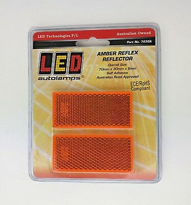 2 Amber Orange Rectangular Reflectors 70 x 30 x6mm Self Adhesive Trailer Caravan