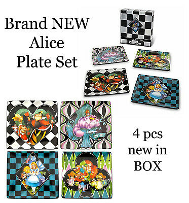 Collectable Teas Dessert Plate - Disney Park Alice in Wonderland Ceramic Dessert Plate Set 4pcs MAD HATTER Tea