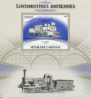 Gabon 2016 MNH Old Locomotives Steam Trains 1v S/S Railways Railroads Stamps