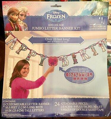 Disney 'FROZEN' Elsa & Anna: Happy Birthday Jumbo Letter Banner Kit-BNIP - Happy Birthday Frozen Banner
