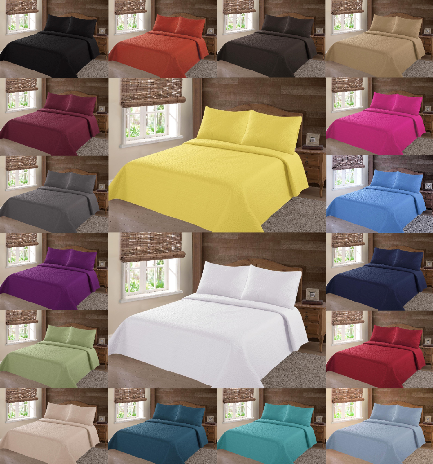 NEW 2/3PC NENA BED BEDSPREAD QUILT SET COVERLET SOLID STIPPL