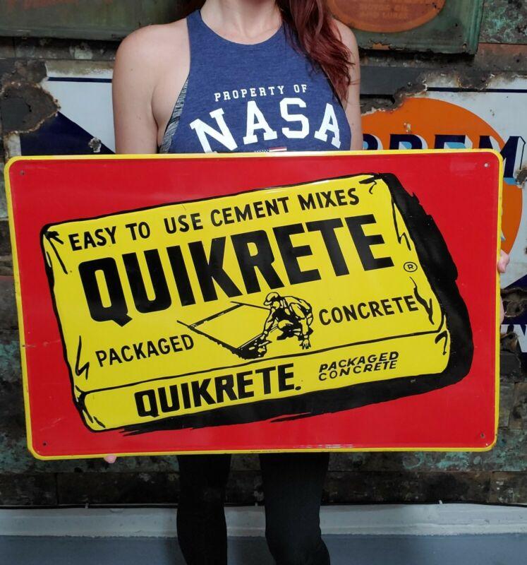 Vintage Quikrete Cement Mixes Concrete Construction Advertising Embossed Sign