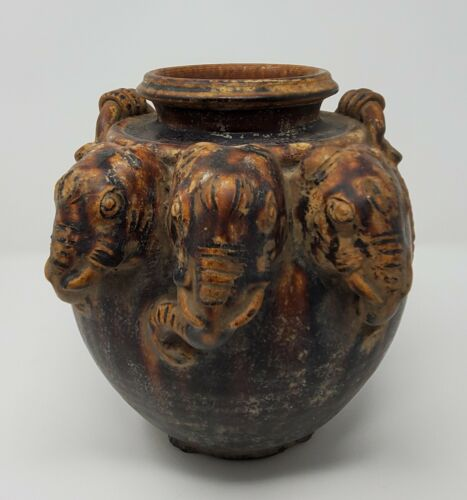 """Antique Brown Elephant Ceramic Pot from Thailand 8"""" Tall"""