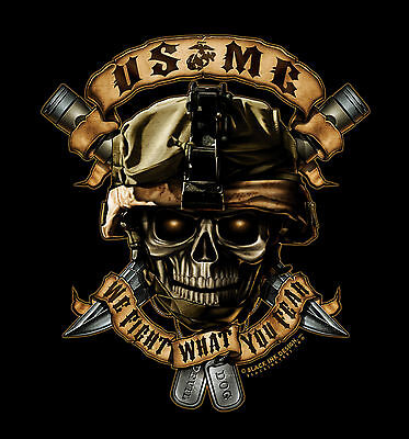 Black Ink Usmc  We Fight What You Fear  T Shirt