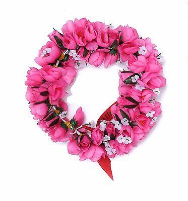 Hawaiian Lei Party Luau Headband Haku Elastic Flower Tuberose Hot Pink