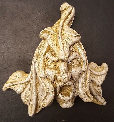 Green man wall plaque leaf face sandstone color gothic Viking face