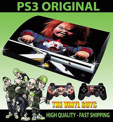 Playstation PS3 Original Aufkleber Kinder Spiele Chucky Horror Hülle & 2 Polster