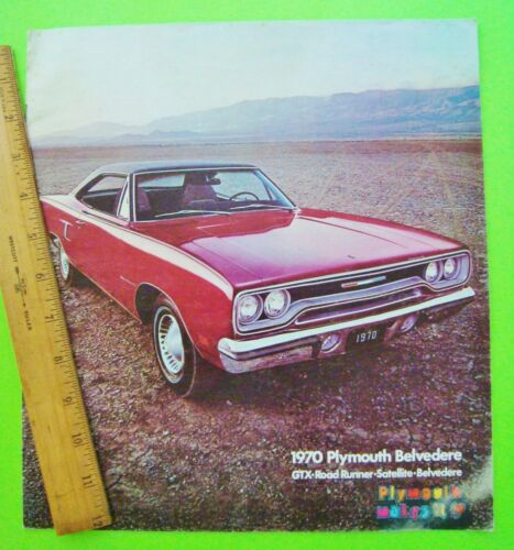 1970 PLYMOUTH GTX Satellite ROAD RUNNER HUGE COLOR CATALOG Brochure 20-pgs XLNT+