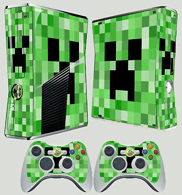XBOX 360 SLIM GREEN PIXEL MONSTER BLOCK CREEP GHOST STICKER SKIN & 2 PAD SKINS