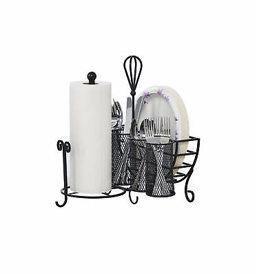 Kitchen Utensil Caddy Antique Black Plates Paper Towel Napkin Holder Metal Easy](Paper Plate Caddy)