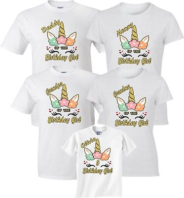 Mom & Dad Family Unicorn New Design Birthday Girl Customized WHITE T-Shirts  - Girl Customs