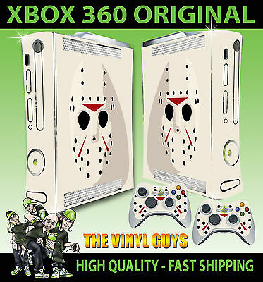 XBOX 360 ORIGINAL JASON VOORHEES MASK CLEAN STICKER SKIN COVER & 2 PAD SKINS ()