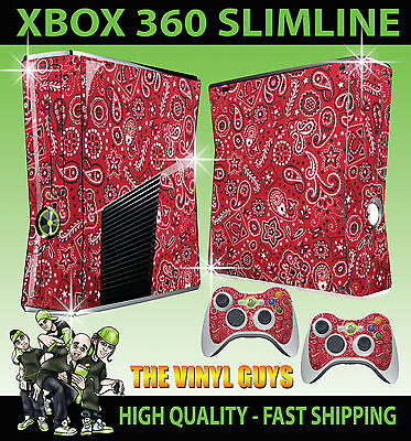 Xbox 360 Slim Rot Paisley Bandana Do Rag Sticker Skin & 2 X Kontrolle Pad Skins