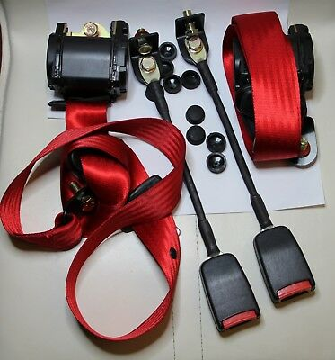 CLASSIC FIAT 500 / FIAT 126 / MINI FRONT SEAT BELT 3 POINT AUTOMATIC KIT RED