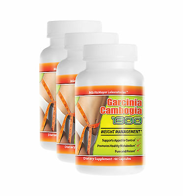 3 Bottles Garcinia Cambogia Extract 1000mg Potassium Calcium 60% HCA Weight Loss
