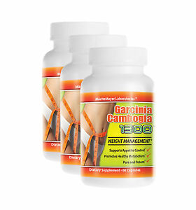 3 Garcinia Cambogia Extract 1000mg Potassium Calcium 60% HCA Weight Loss Pure