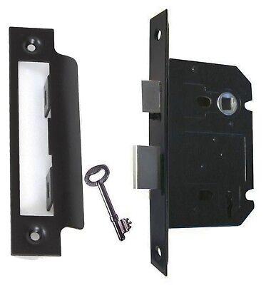 (Matt Black Reversible 3 Lever Sash or Mortise Lock 63mm - 2-1/2