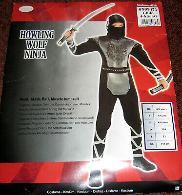 üm Howling Wolf Ninja Gr. 110-116 Fasching Halloween Amscan  (Wolf Kind Kostüm)
