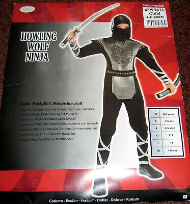 Karneval Kinder Kostüm Howling Wolf Ninja Gr. 110-116 Fasching Halloween Amscan  ()